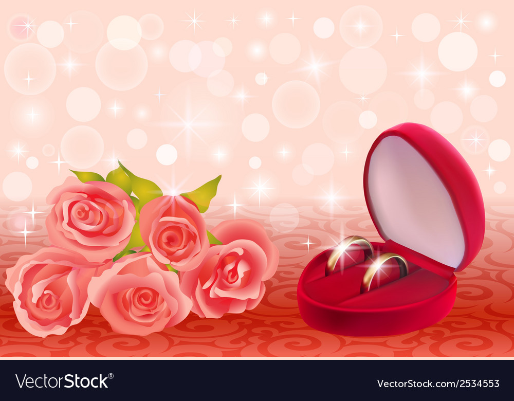 Background with roses and weddin vector | Price: 1 Credit (USD $1)