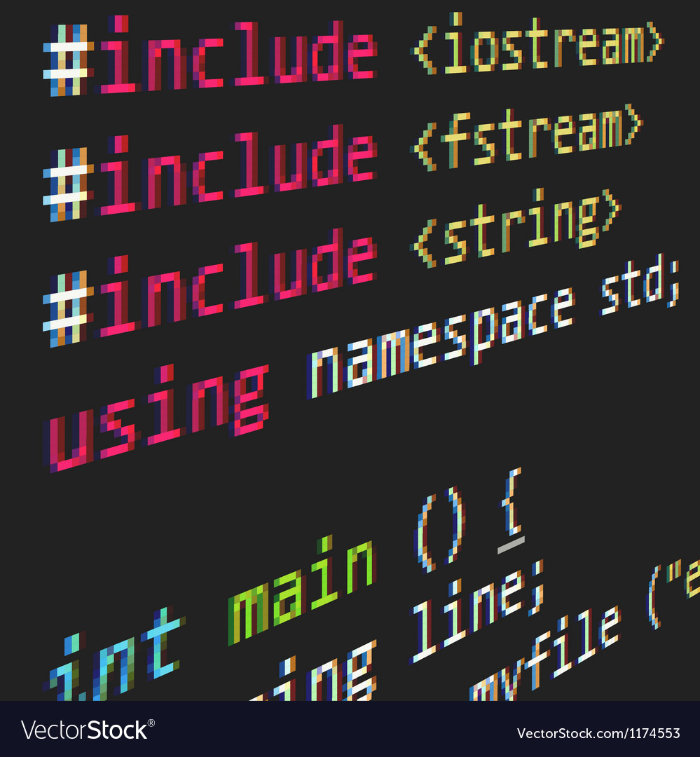 C lenguage code on dark background vector | Price: 1 Credit (USD $1)