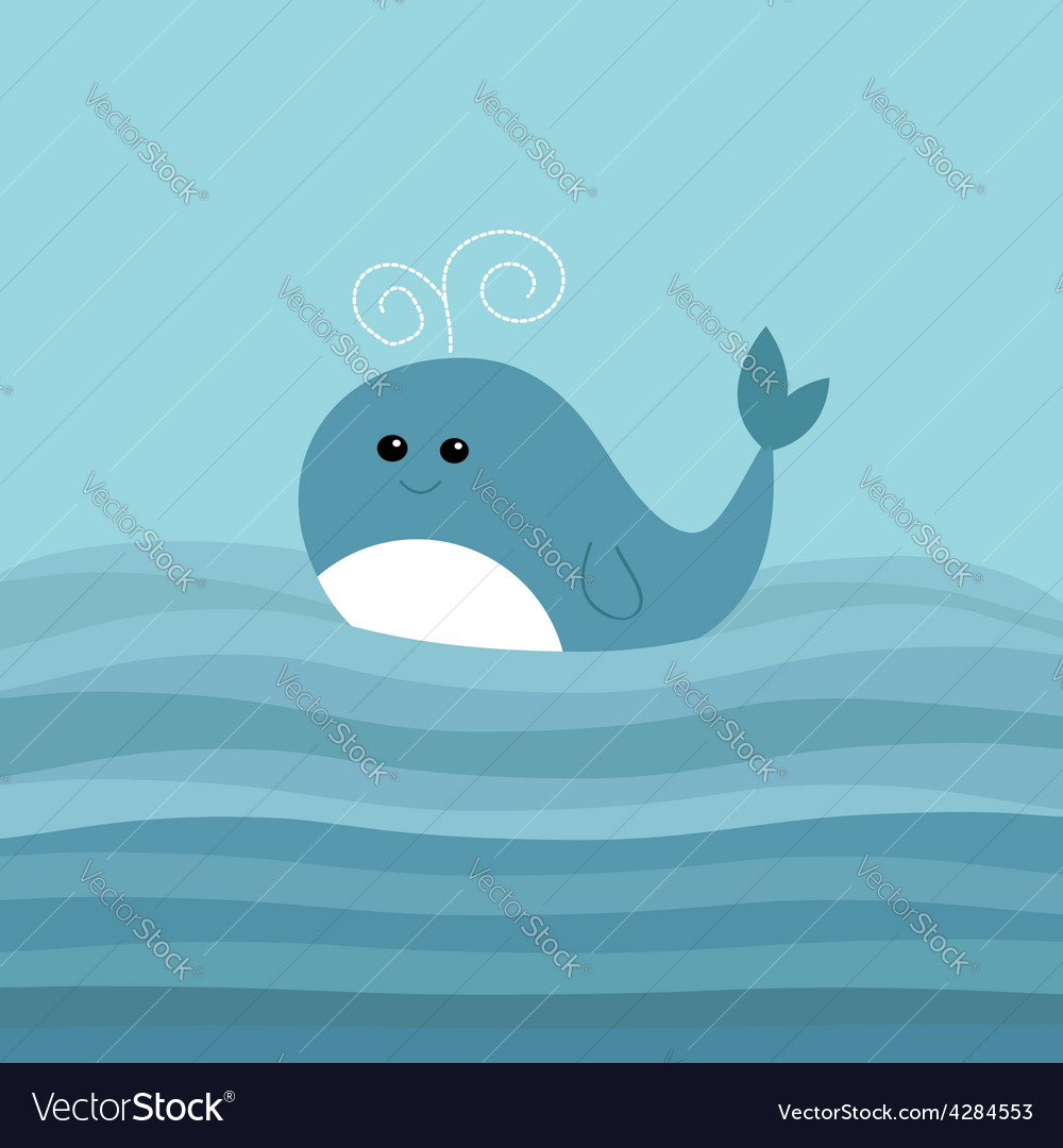 Cartoon whale in the ocean with blue waves kids vector | Price: 1 Credit (USD $1)