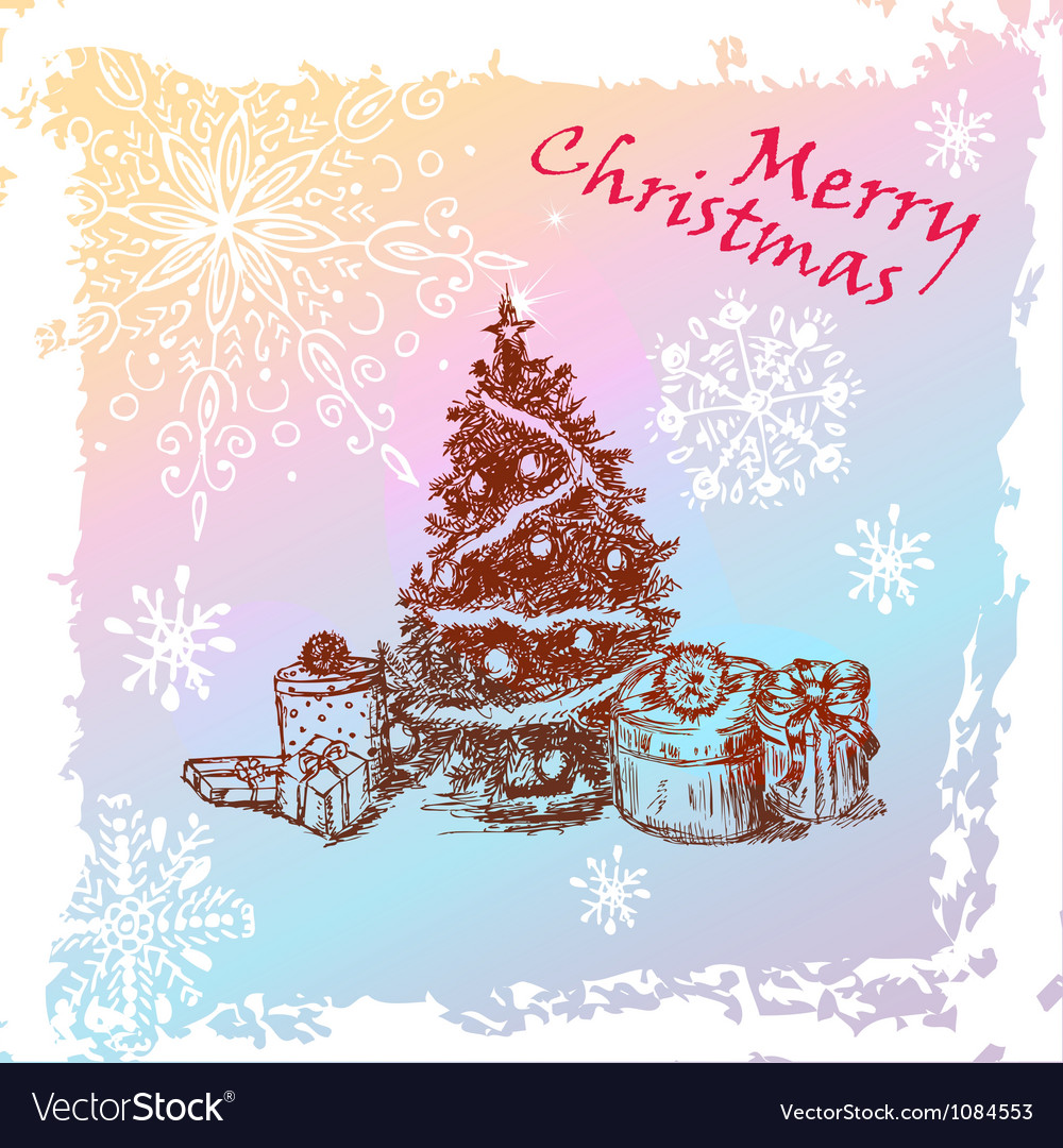 Christmas vintage fir tree vector | Price: 1 Credit (USD $1)