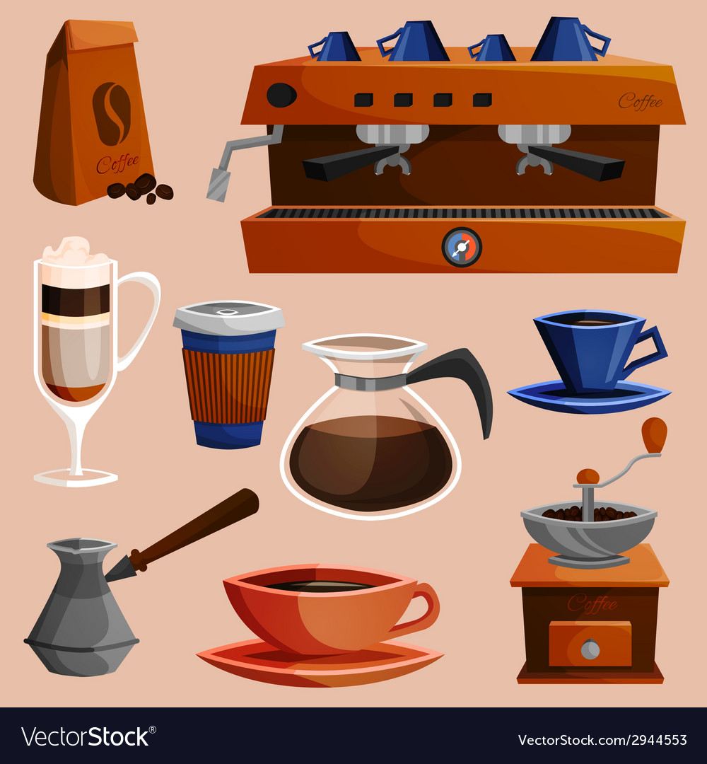 Coffee elements set vector | Price: 1 Credit (USD $1)