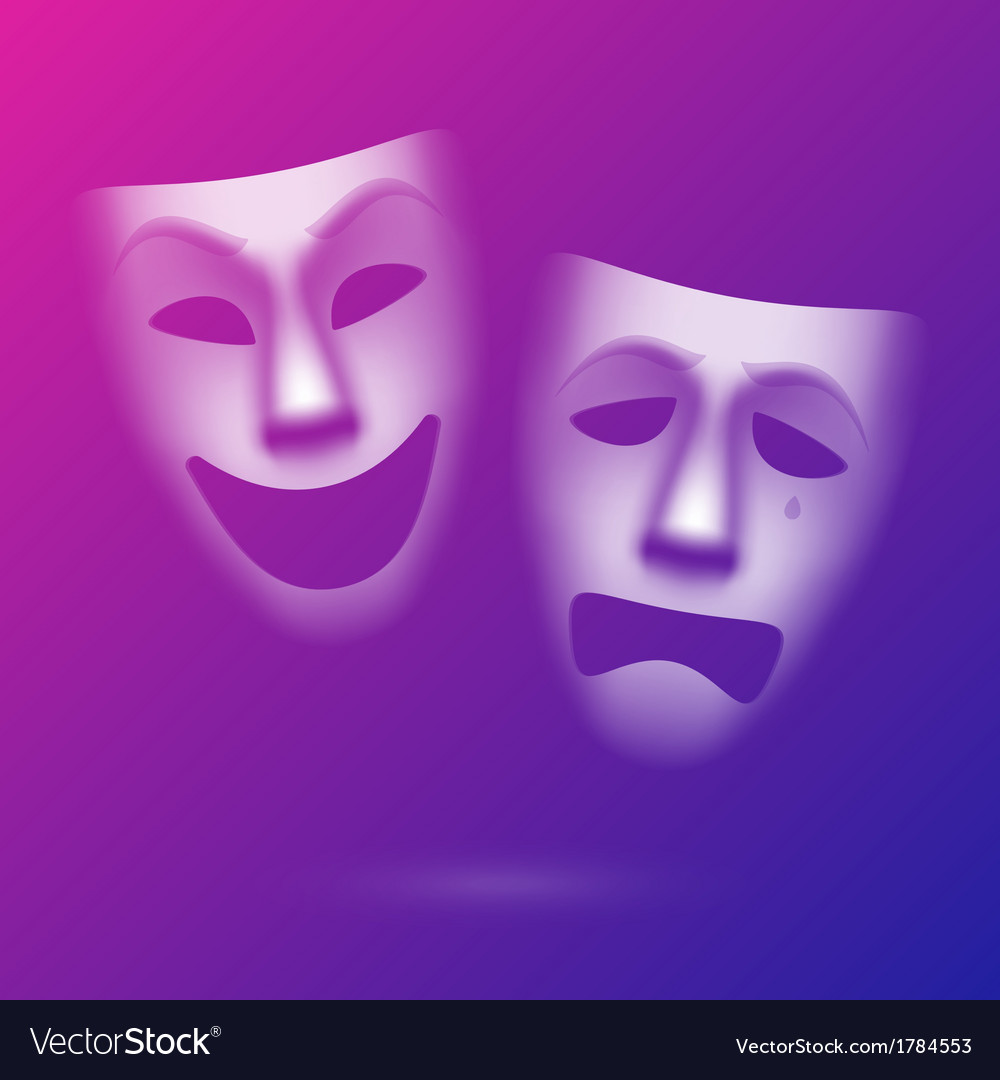 Comedy and tragedy theatrical masks vector | Price: 1 Credit (USD $1)