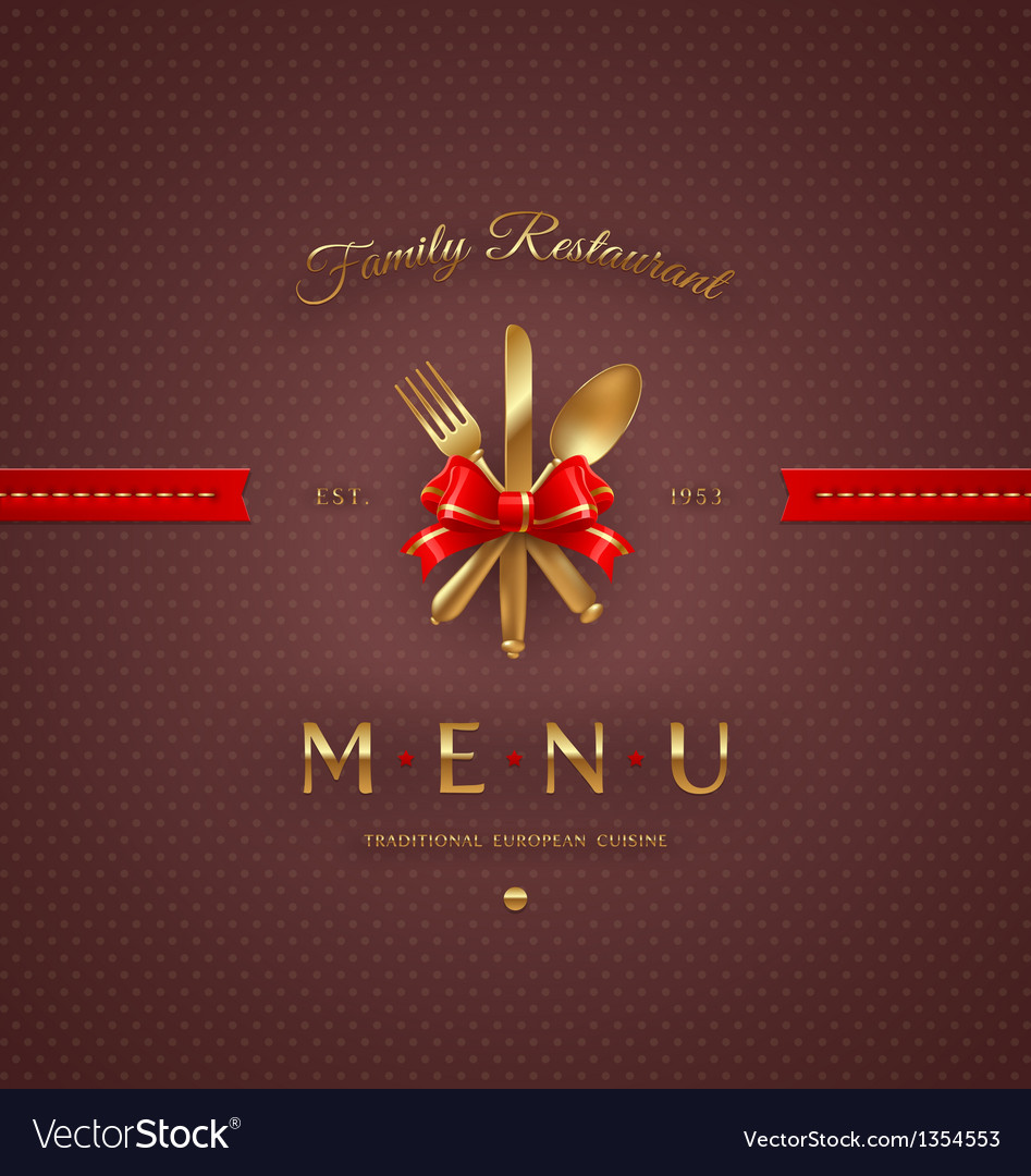 Cover menu with golden cutlery and lettering vector | Price: 1 Credit (USD $1)