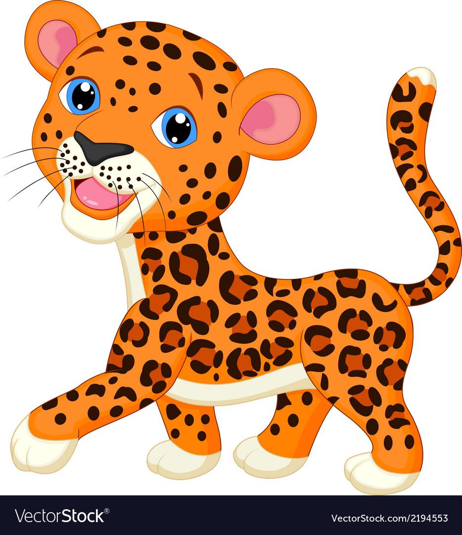 Cute baby leopard cartoon vector | Price: 1 Credit (USD $1)