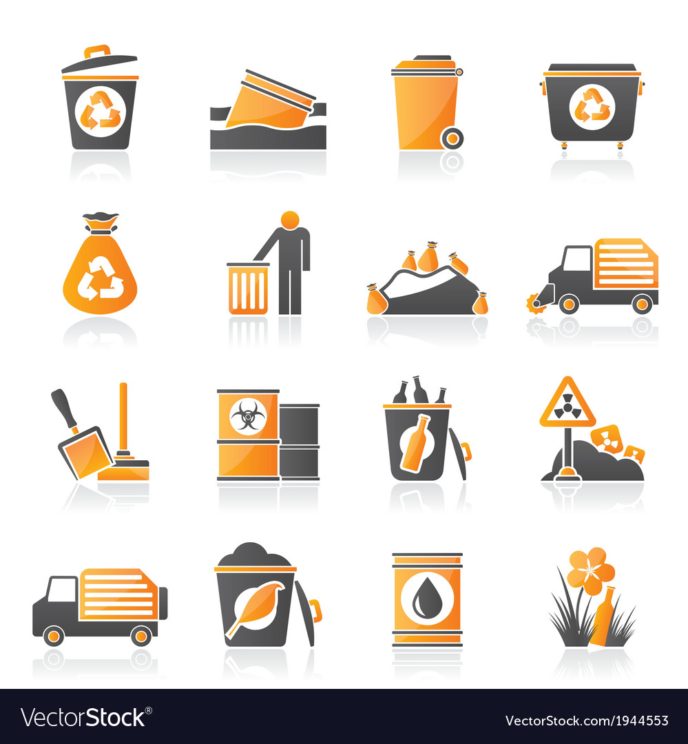 Garbage and rubbish icons vector | Price: 1 Credit (USD $1)