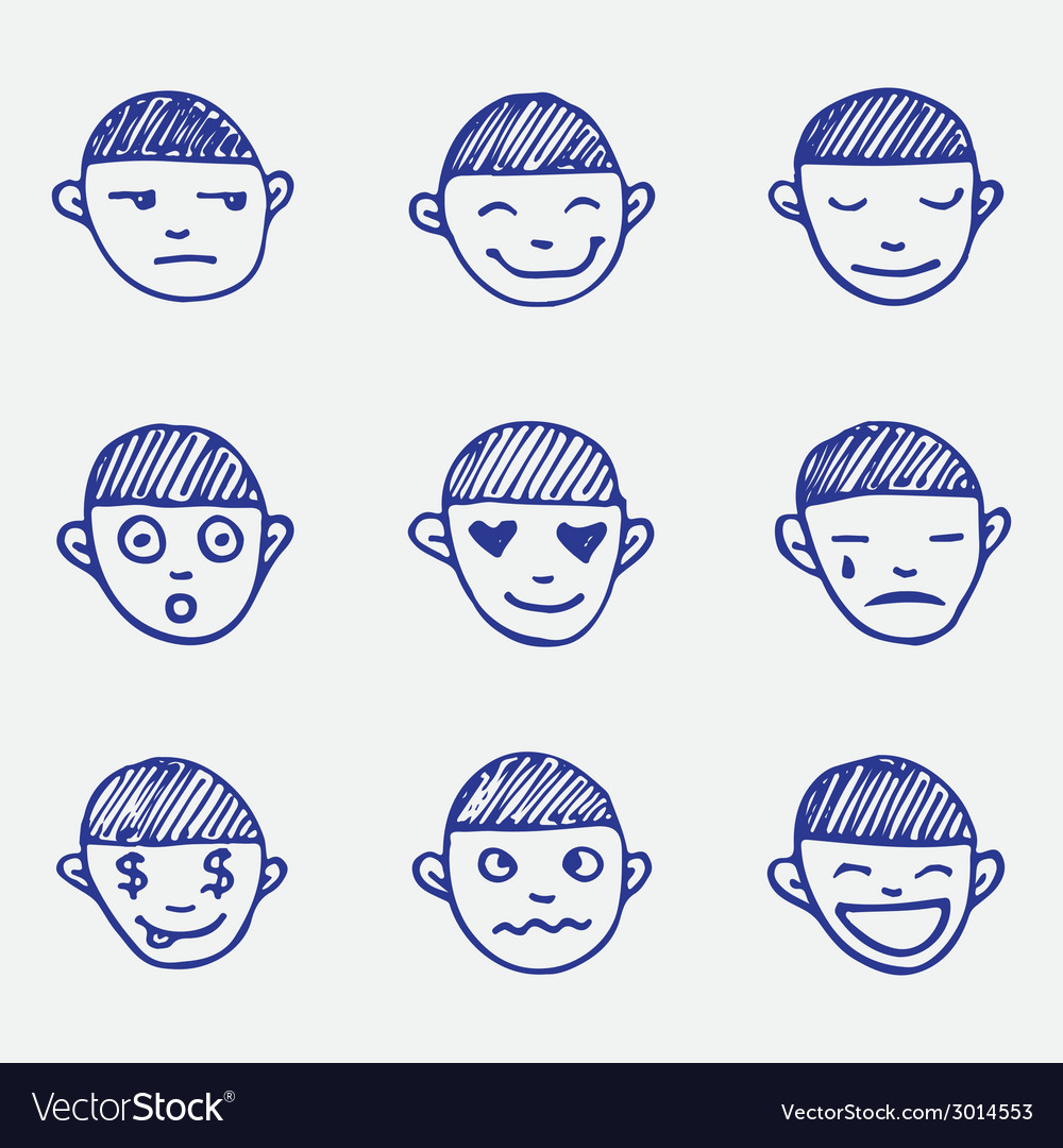 Hand drawn doodle emoticons set boys head emotions vector | Price: 1 Credit (USD $1)