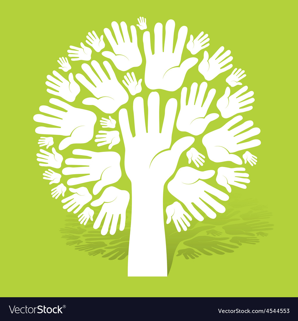 Hands of tree on green vector | Price: 1 Credit (USD $1)