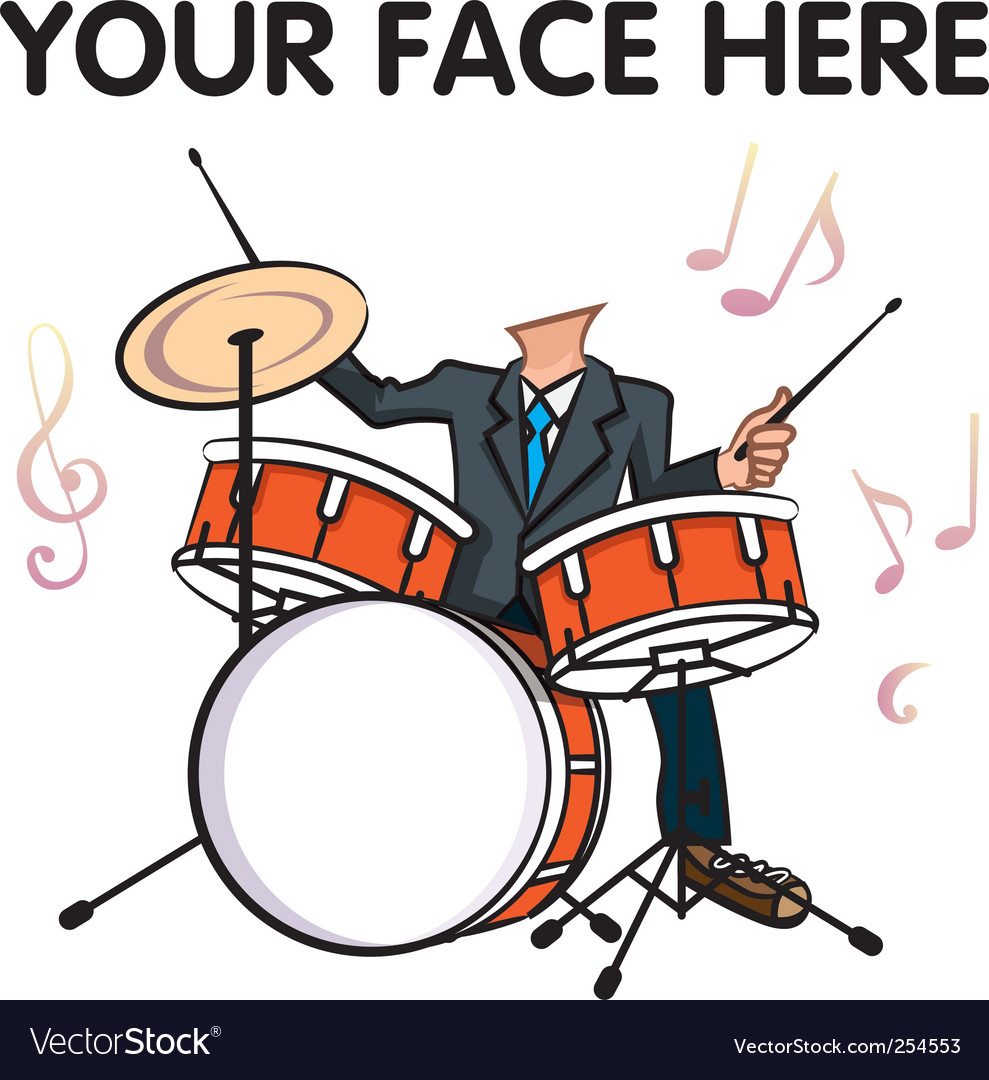 Man playing drum vector | Price: 1 Credit (USD $1)