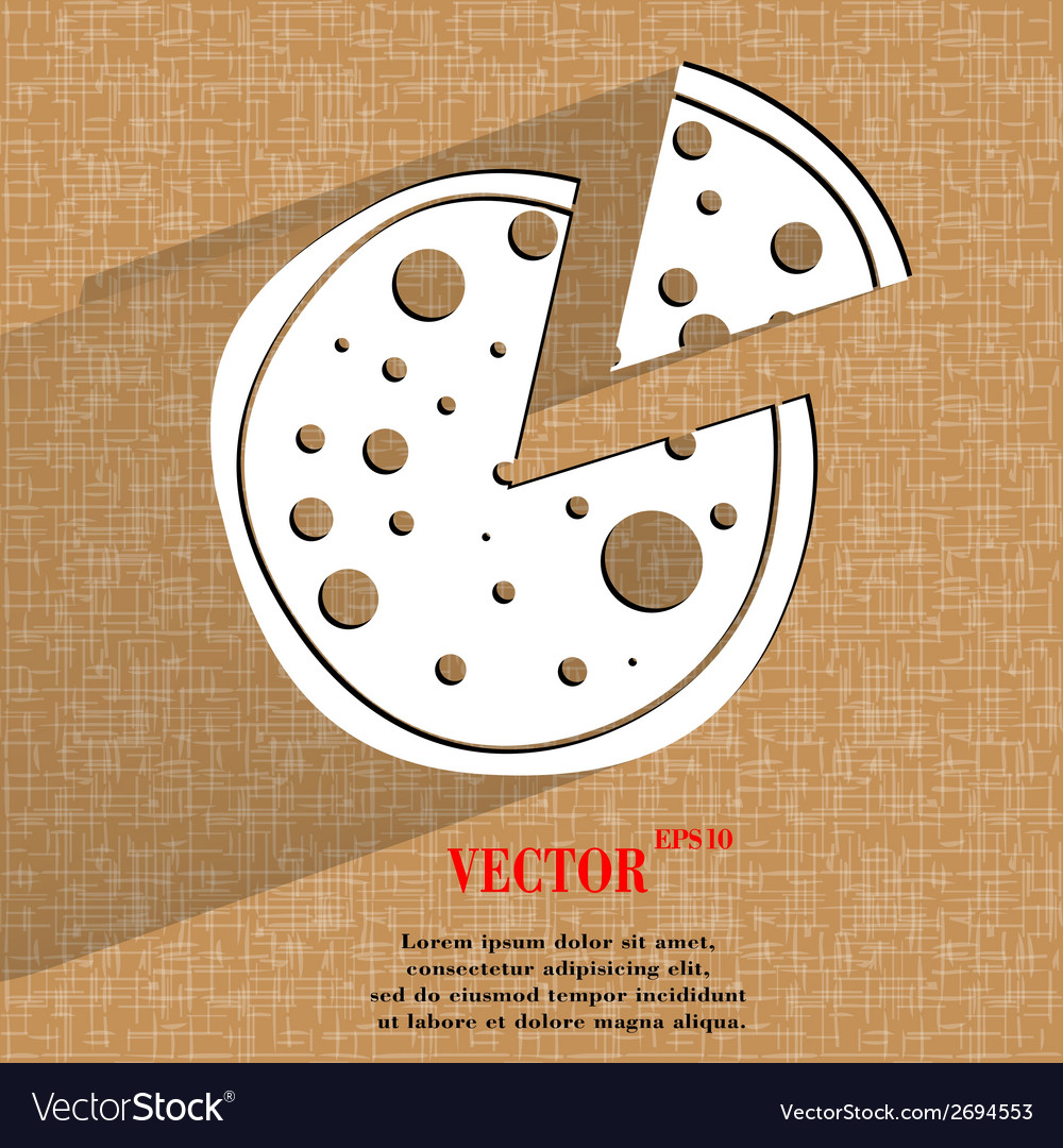 Pizza flat modern web button on a flat geometric vector | Price: 1 Credit (USD $1)