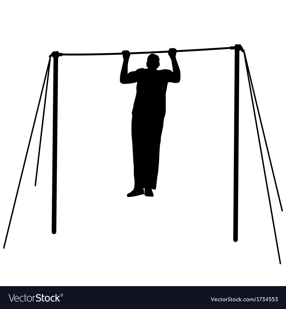 Silhouette of an athlete on the horizontal bar vector | Price: 1 Credit (USD $1)
