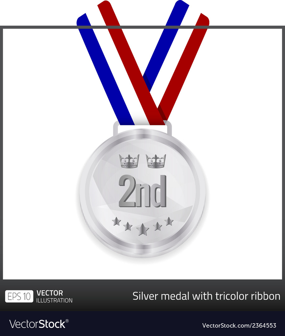Silver medal with tricolor ribbon vector | Price: 1 Credit (USD $1)
