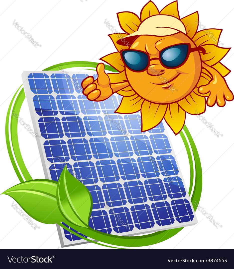 Solar panel with cartoon sun vector | Price: 1 Credit (USD $1)