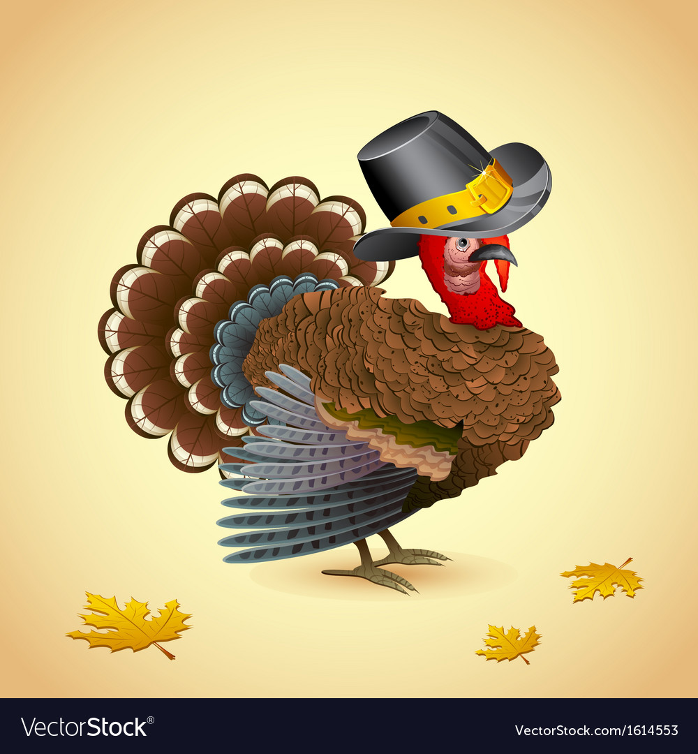 Turkey with thanksgiving hat vector | Price: 1 Credit (USD $1)
