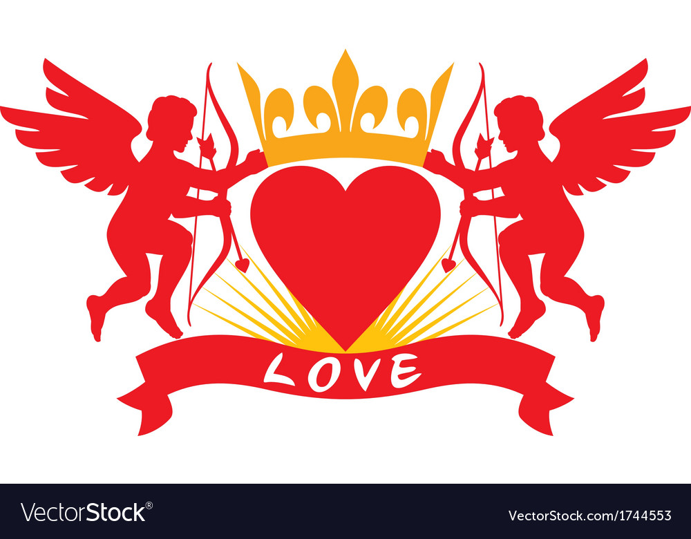 Two cupids heart and crown vector | Price: 1 Credit (USD $1)
