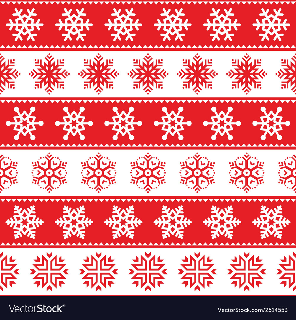Winter christmas red seamless pattern snowflakes vector | Price: 1 Credit (USD $1)