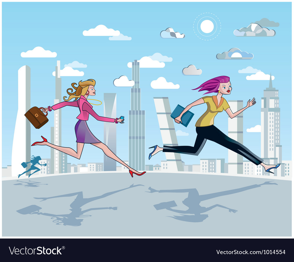 Businesswomen running and skyscrapers vector | Price: 3 Credit (USD $3)
