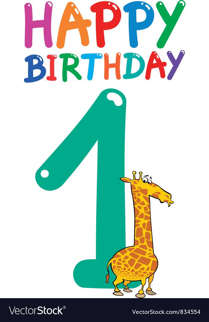 First birthday anniversary card vector   Price: 3 Credit (USD $3)