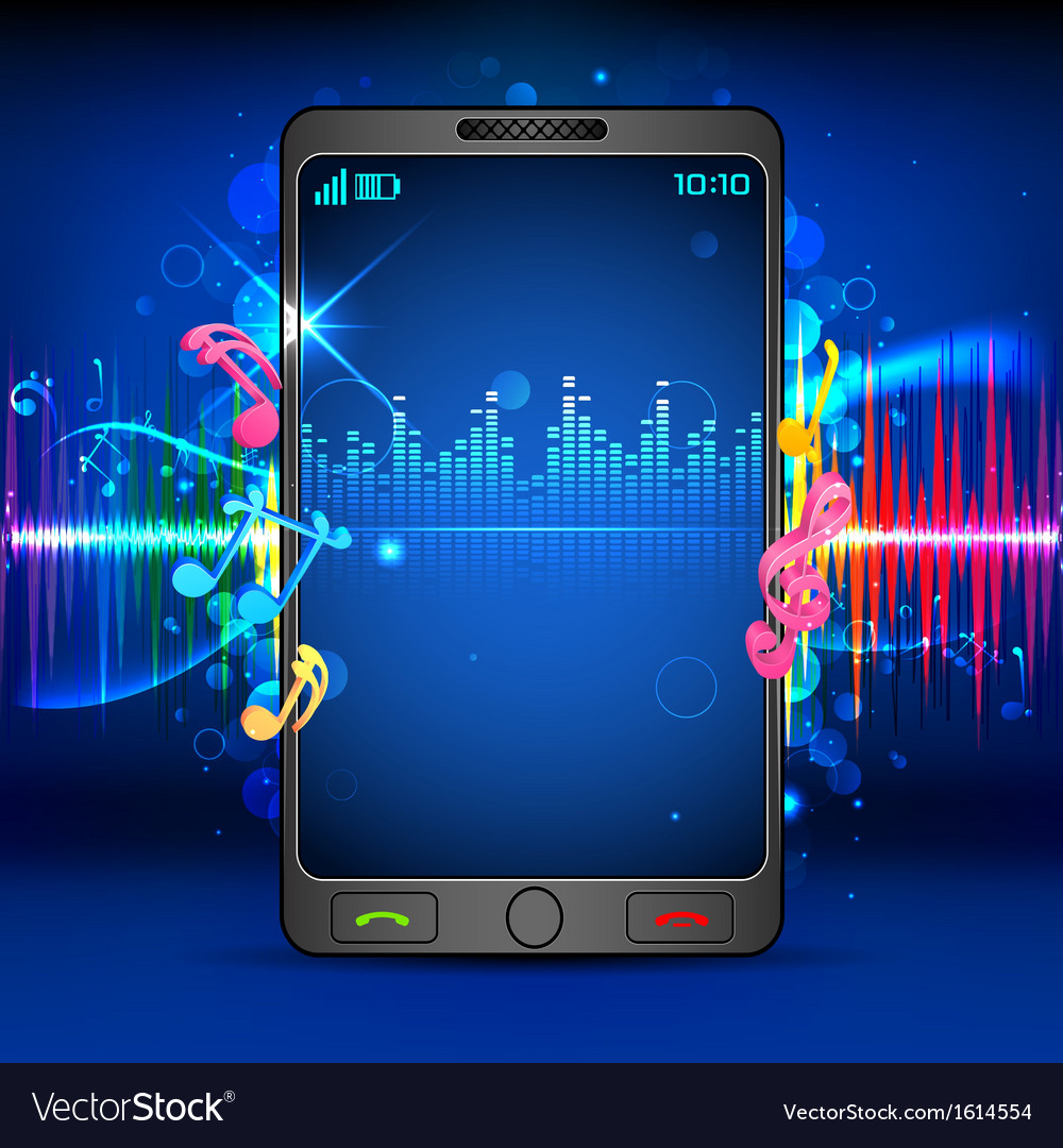 Music on mobile phone vector | Price: 1 Credit (USD $1)