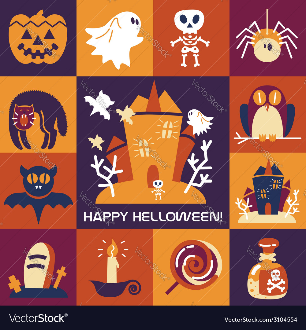 Set-of-halloween-icons vector | Price: 1 Credit (USD $1)