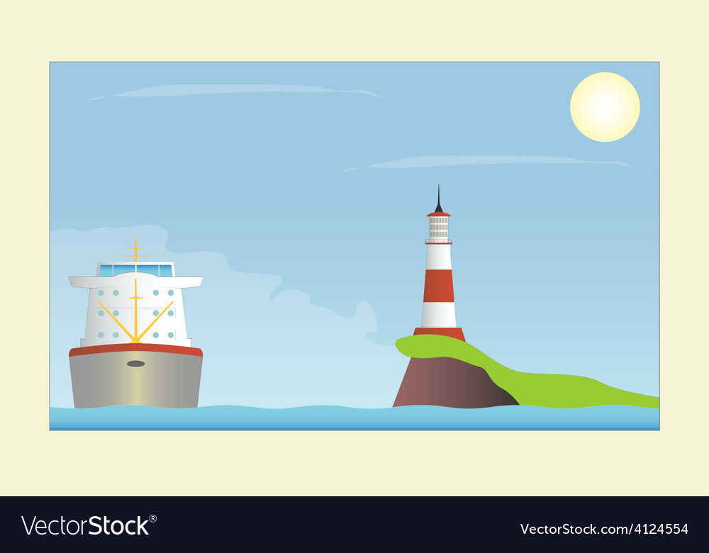 Ship and lighthouse in the sea vector | Price: 1 Credit (USD $1)