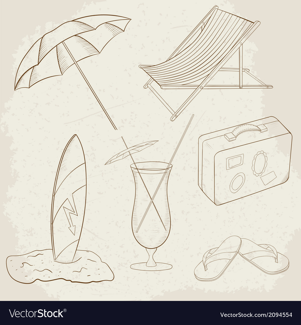 Summer holiday hand drawn icons vector | Price: 1 Credit (USD $1)