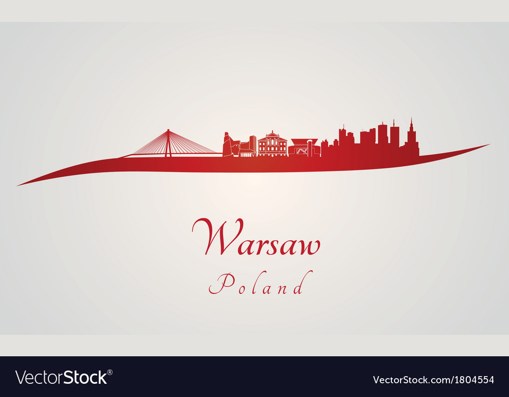 Warsaw skyline in red vector | Price: 1 Credit (USD $1)