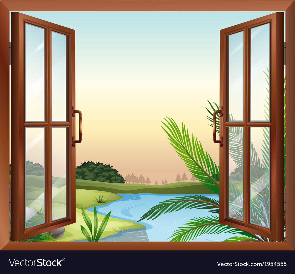 A window overlooking the view of nature vector | Price: 1 Credit (USD $1)
