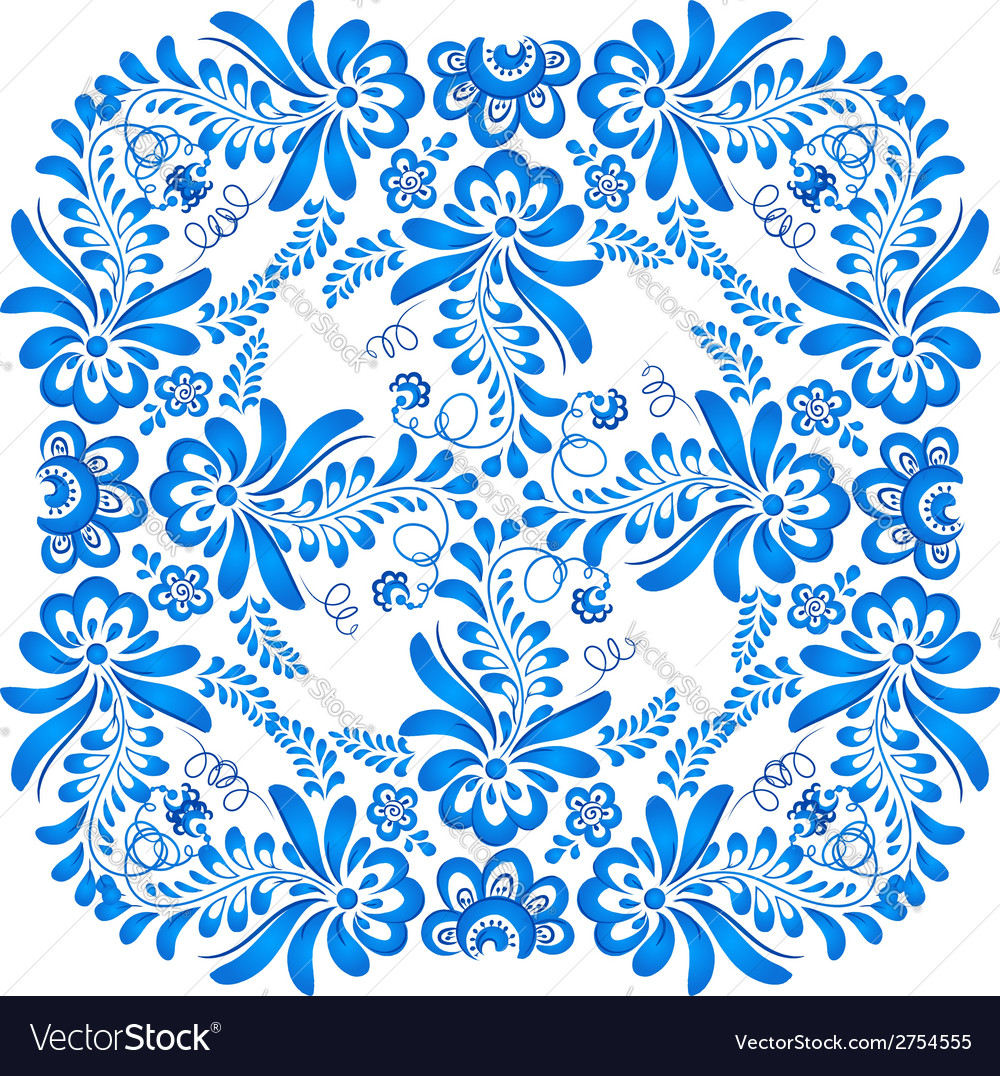 Blue floral ornament in gzhel style vector | Price: 1 Credit (USD $1)