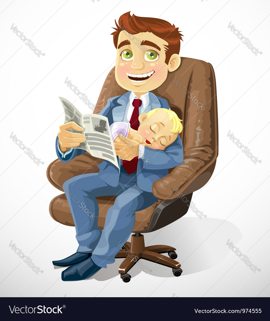 Business dad with sleep baby in an office chair vector | Price: 3 Credit (USD $3)