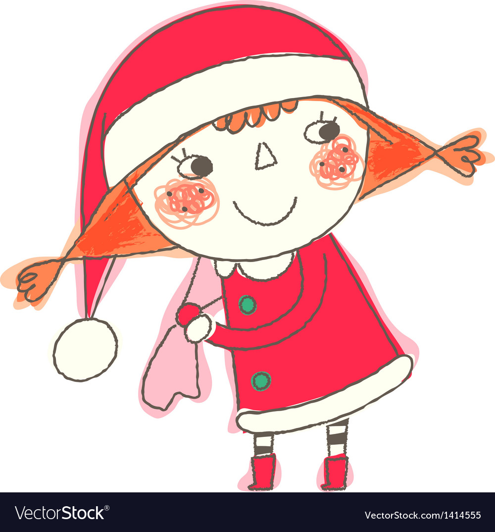 Christmas girl standing vector | Price: 1 Credit (USD $1)