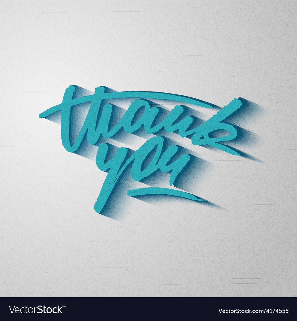 Custom handwritten thank you card grunge lettering vector | Price: 1 Credit (USD $1)