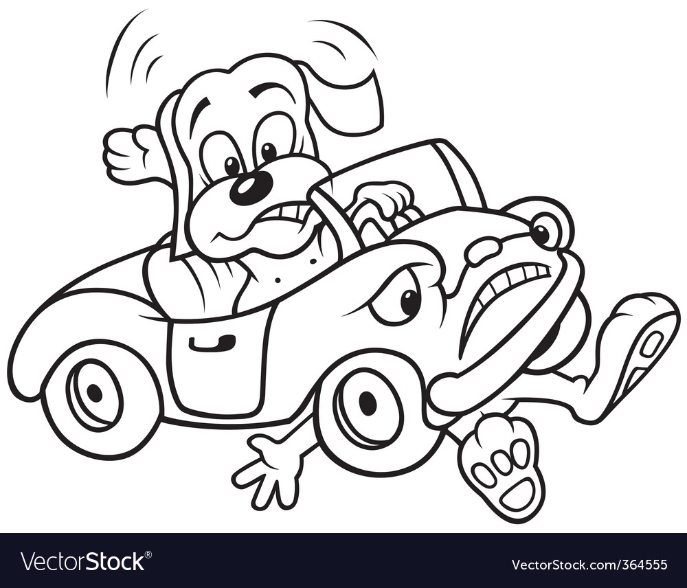 Dog and car crash vector | Price: 1 Credit (USD $1)