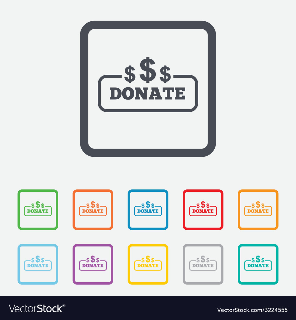 Donate sign icon dollar usd symbol vector | Price: 1 Credit (USD $1)