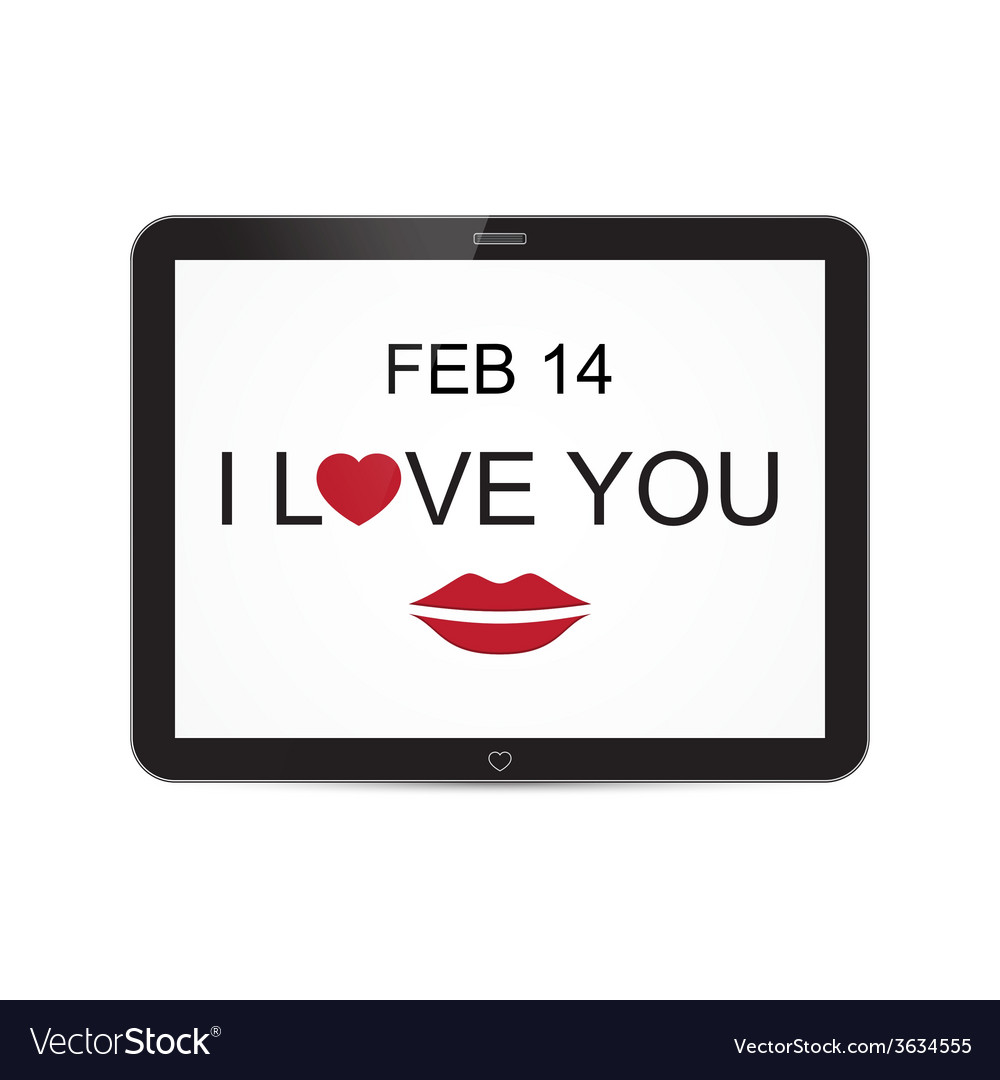 I love you and mouth tablet with heart design vector | Price: 1 Credit (USD $1)