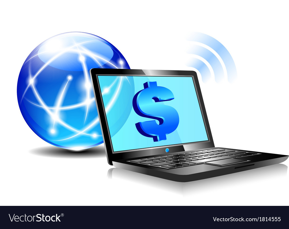 Internet laptop money dollar banking account vector | Price: 1 Credit (USD $1)