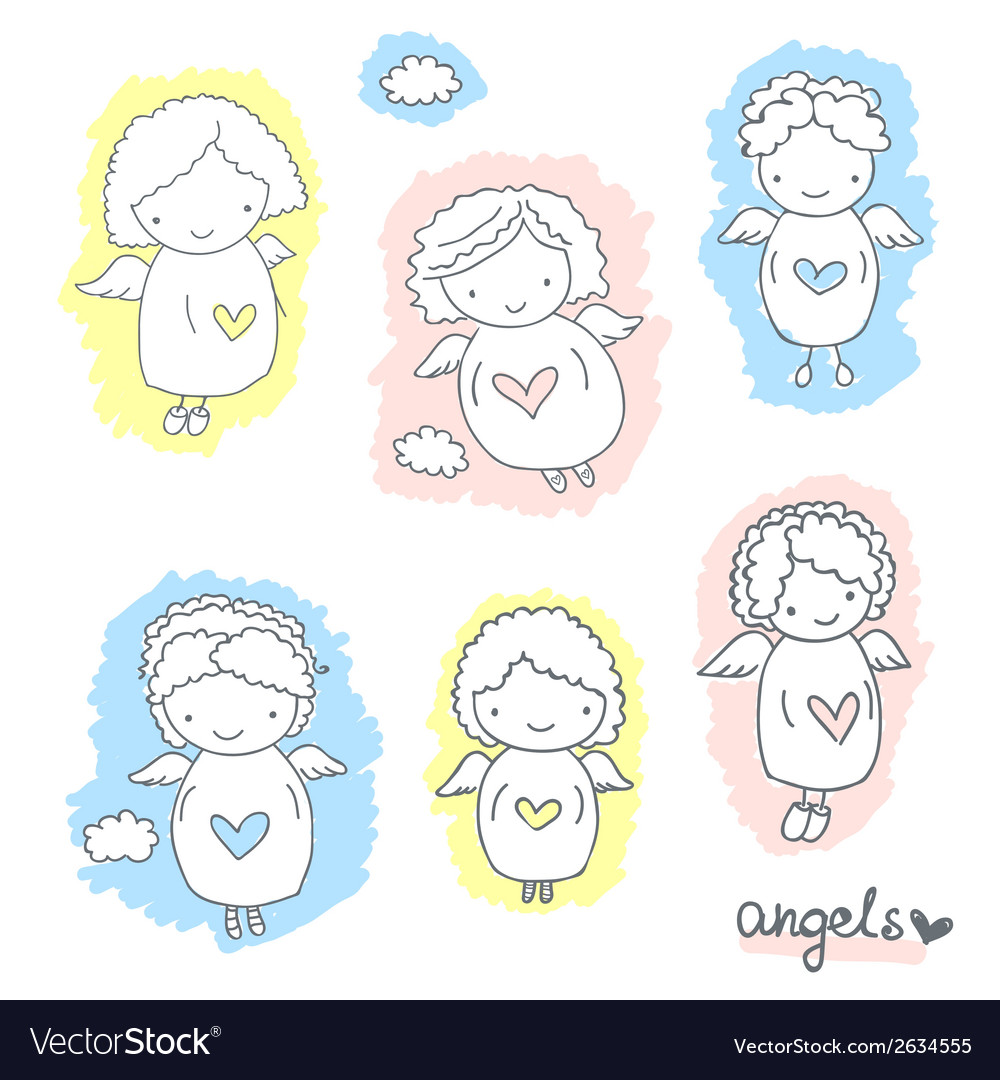 Set of cute sketch angels vector | Price: 1 Credit (USD $1)
