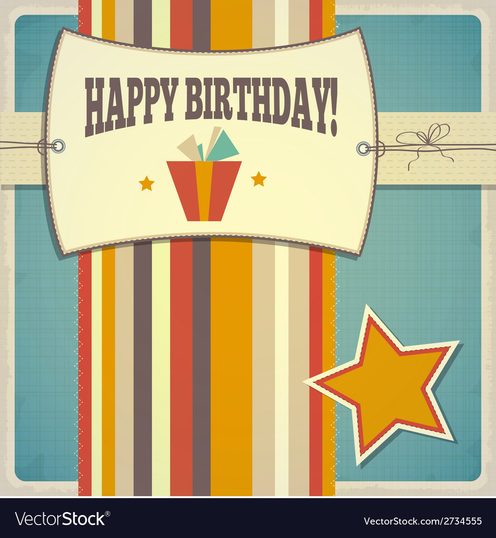Vintage retro happy birthday card vector | Price: 1 Credit (USD $1)