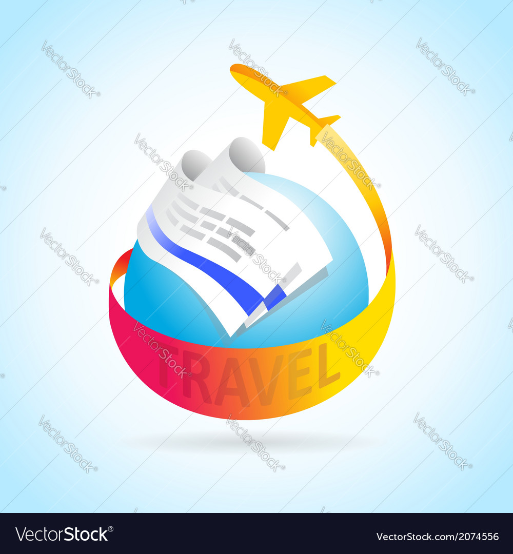 Airplane flight travel takeoff blue globe tickets vector | Price: 1 Credit (USD $1)