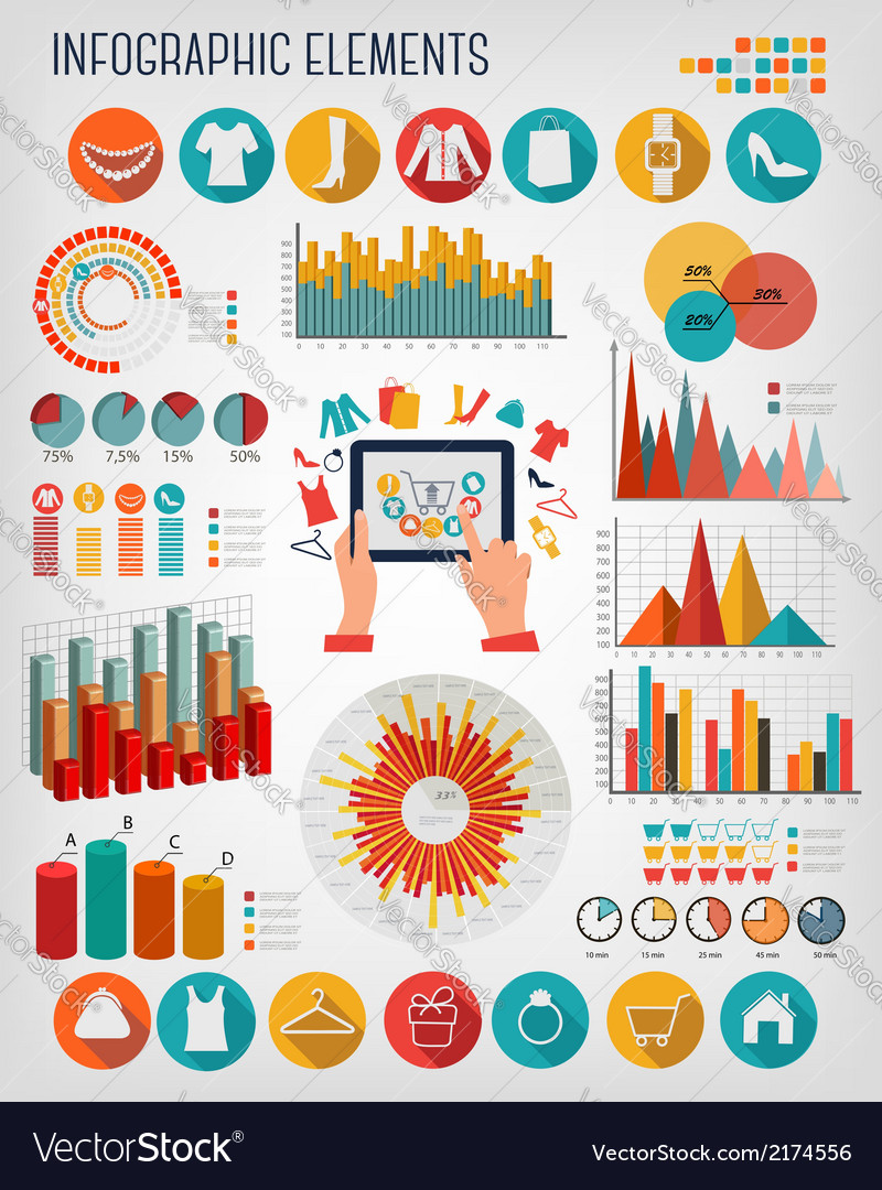 Big set of shopping infographics elements vector   Price: 1 Credit (USD $1)