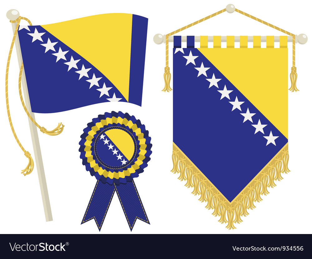 Bosnia and herzegovina flags vector | Price: 1 Credit (USD $1)