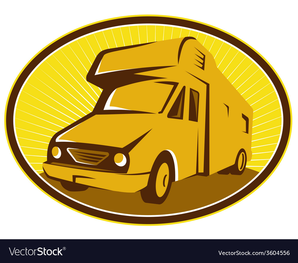 Camper van mobile home retro vector   Price: 1 Credit (USD $1)