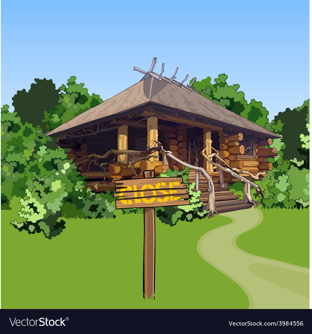 Cartoon wooden house in the woods with a sign vector | Price: 3 Credit (USD $3)