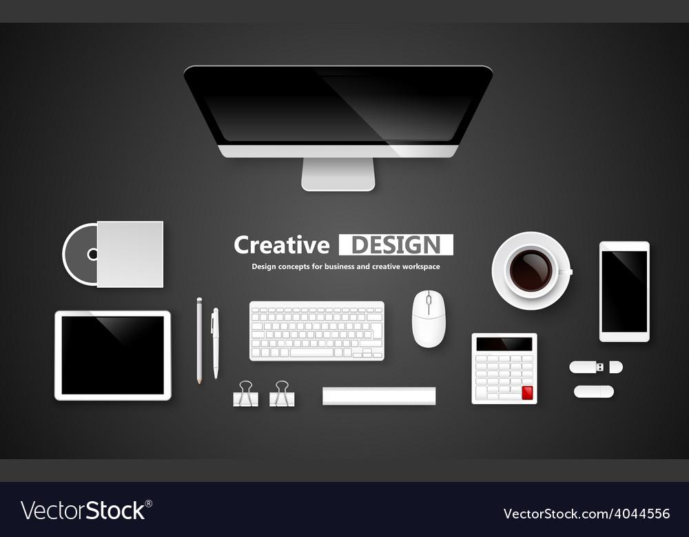 Creative design workspace vector | Price: 1 Credit (USD $1)