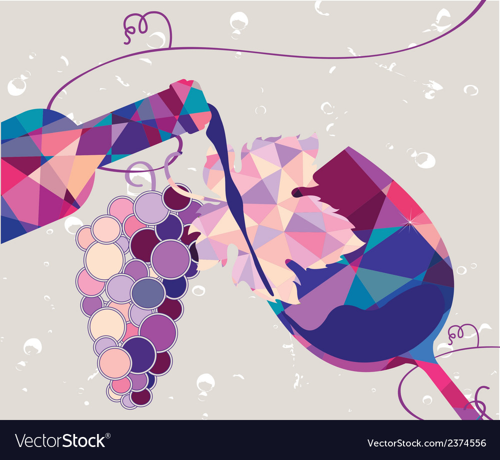Glass of red wine with grape made of triangles vector | Price: 1 Credit (USD $1)