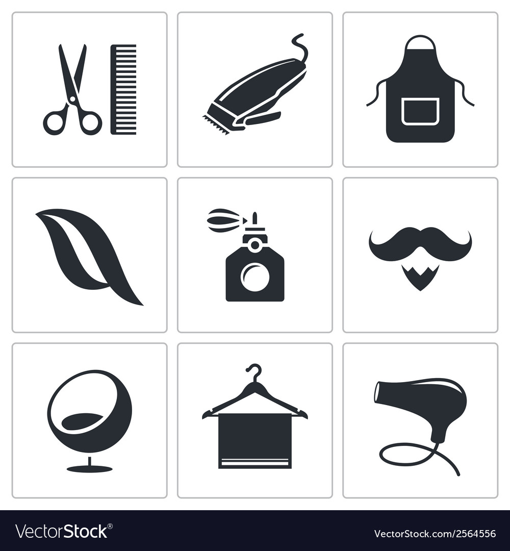 Hair salon icon set vector | Price: 1 Credit (USD $1)