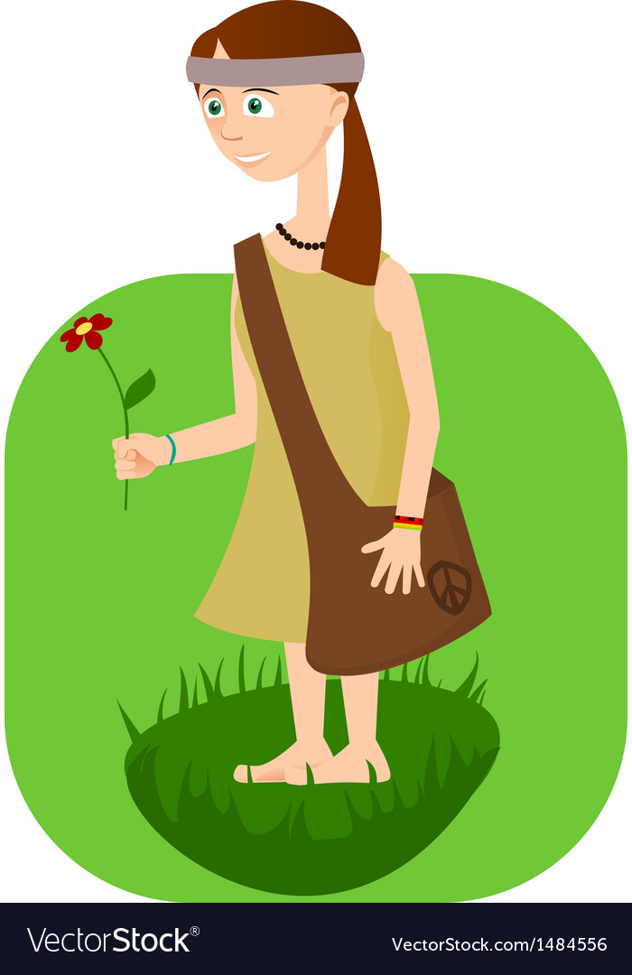 Hippie girl with flower in hand vector | Price: 1 Credit (USD $1)