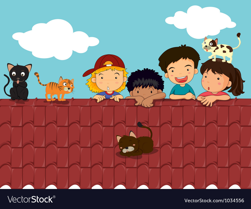 Kids on roof vector | Price: 1 Credit (USD $1)