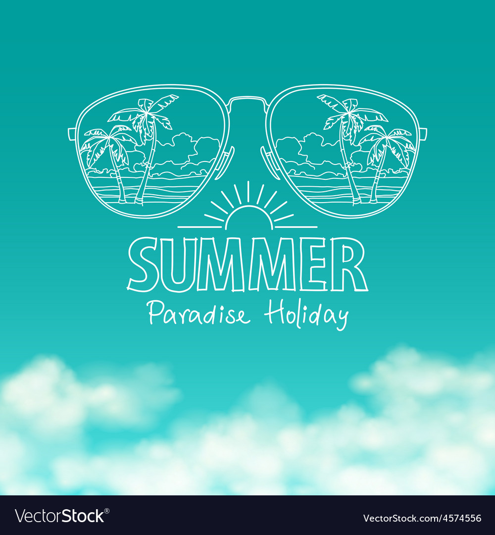 Reflection of the beach in sunglasses sunny blue vector | Price: 1 Credit (USD $1)