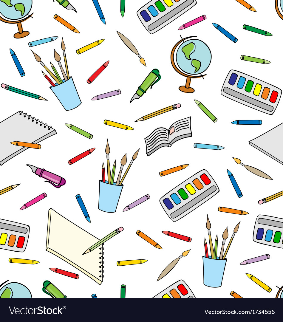 School supplies pattern vector | Price: 1 Credit (USD $1)