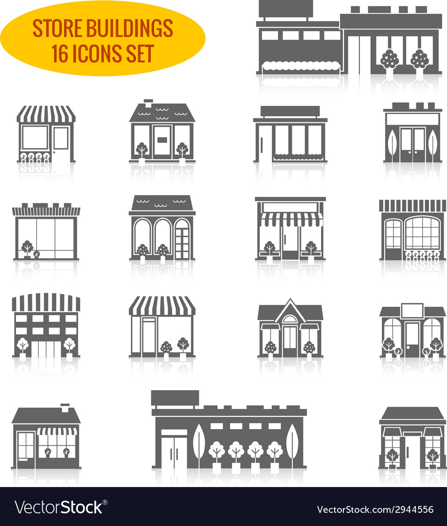 Store building icons set black vector | Price: 1 Credit (USD $1)